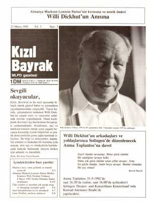 Rote Fahne zum Tod Willi Dickhut (türkisch)