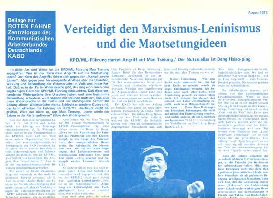 """Rote Fahne Beilage 1978 """"Verteidigt den Marxismus-Leninismus und die Maotsetungideen"""" KPD/ML-Führung"""