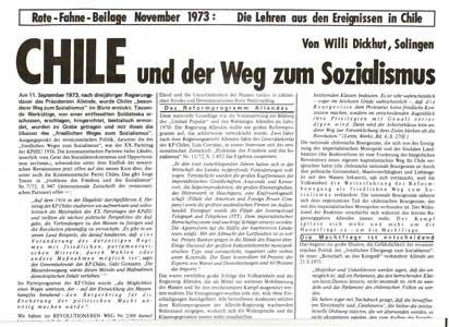 """Rote Fahne Beilage 1973 """"Chile und der Weg zum Sozialismus"""" Lehren aus den Ereignissen in Chile"""