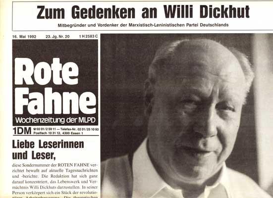 Rote Fahne zum Tod von Willi Dickhut