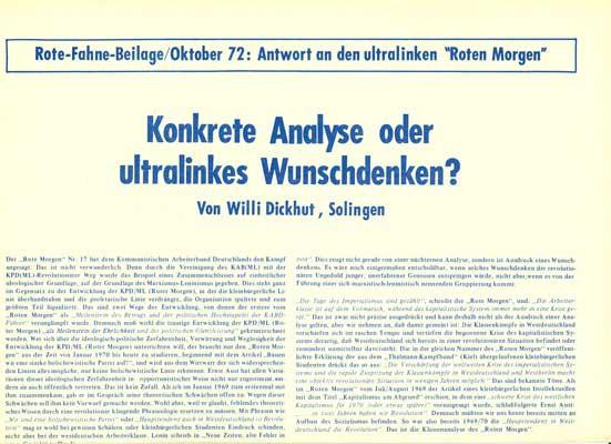 """Rote Fahne Beilage 1972 """"Konkrete Analyse oder ultralinkes Wunschdenken?"""" Antwort an den ultralinken"""