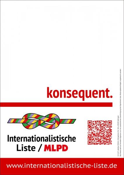 Plakate, Leerplakat DIN A1 und DIN A2 der Internationalistischen Liste / MLPD