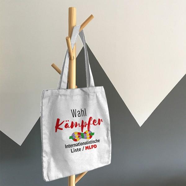 """Tasche aus Baumwolle, weiß, """"Wahlkämpfer"""" / Logo internationalistische Liste / MLPD"""