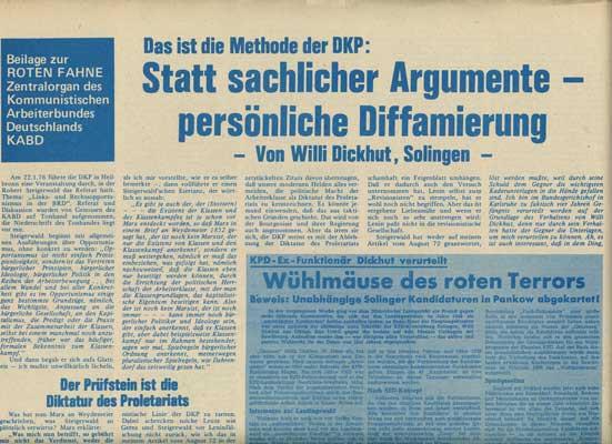 """Rote Fahne Beilage 1976 """"Das ist die Methode der DKP: Statt sachlicher Argumente pers. Diffamiierung"""