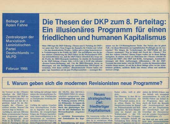"""Rote Fahne Beilage 1986 """"Die Thesen der DKP zum 8. Parteitag: Ein illusionäres Programm für einen fr"""