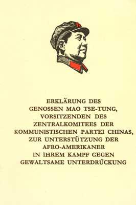 Erklärung des Genossen Mao Tsetung ... zur Unterstützung der Afro-Amerikaner in ihrem Kampf gegen di